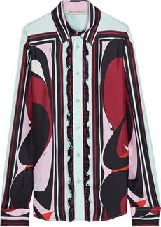Emilio Pucci Woman Ruffle-trimmed Printed Silk-twill Shirt Mint
