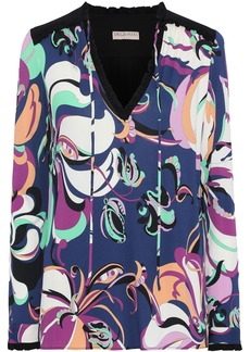 Emilio Pucci Woman Ruffle-trimmed Printed Stretch-jersey Blouse Indigo