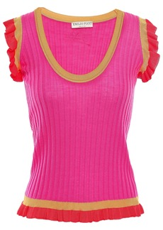 Emilio Pucci Woman Ruffle-trimmed Ribbed Wool Top Bright Pink