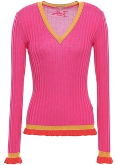 Emilio Pucci Woman Ruffle-trimmed Ribbed Wool Top Fuchsia