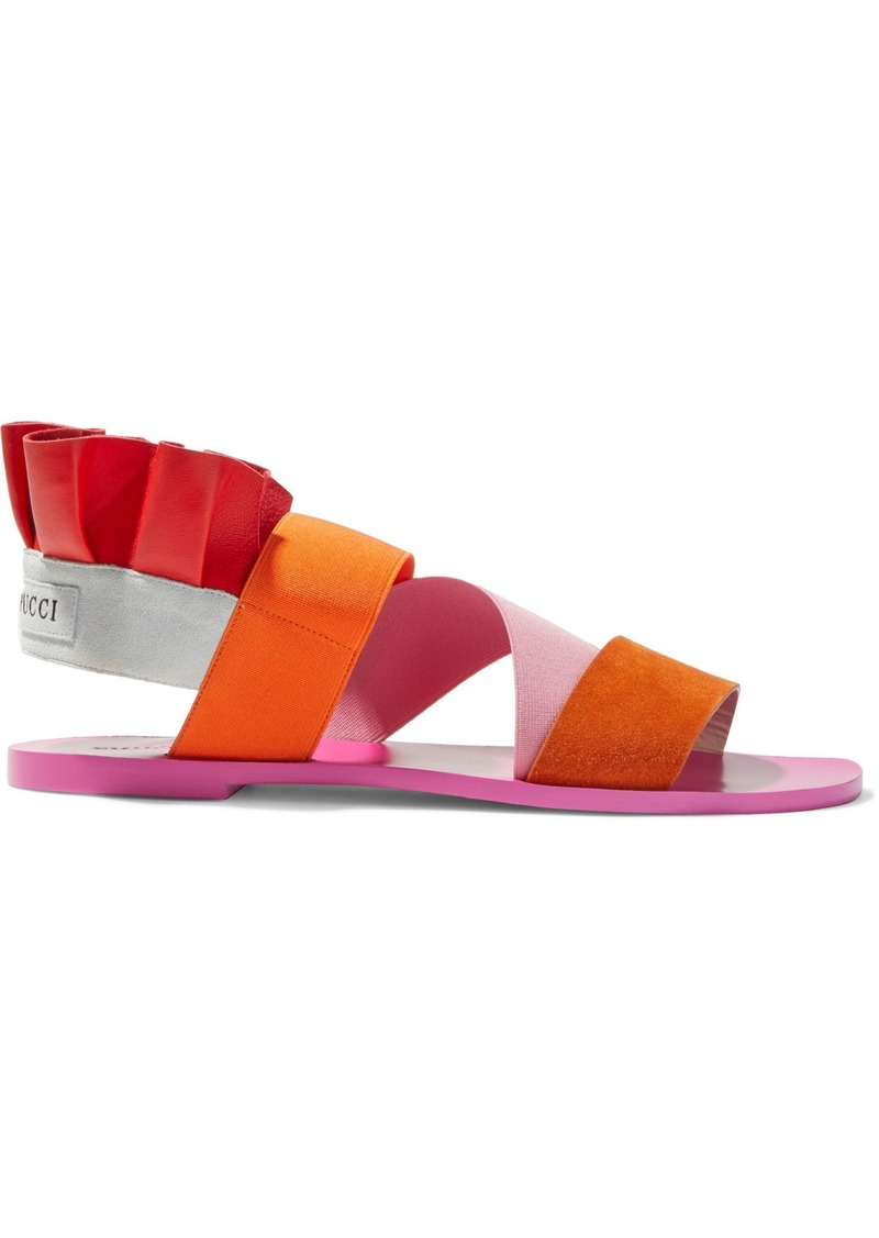 Emilio Pucci Woman Ruffled Color-block Leather And Suede Slingback Sandals Pink