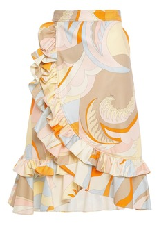 Emilio Pucci Woman Ruffled Printed Cotton-blend Piqué Wrap Skirt Orange