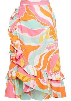 Emilio Pucci Woman Ruffled Printed Cotton Wrap Skirt Orange