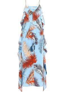 Emilio Pucci Woman Ruffled Printed Crepe De Chine Midi Slip Dress Sky Blue
