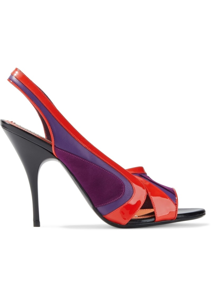 Emilio Pucci Woman Satin Smooth And Patent-leather Slingback Pumps Purple