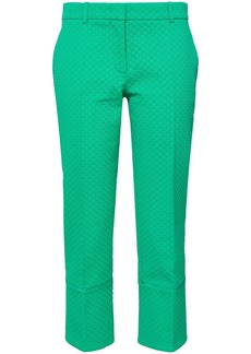 Emilio Pucci Woman Satin-trimmed Cotton Wool And Silk-blend Jacquard Tapered Pants Jade