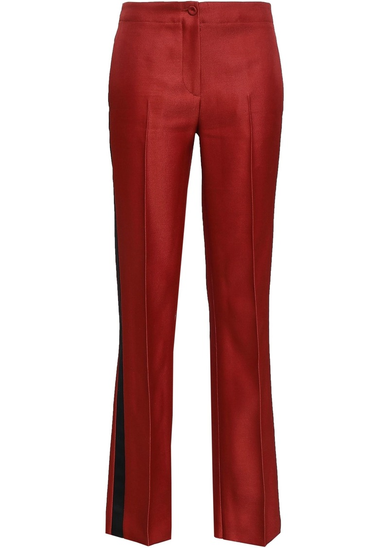 Emilio Pucci Woman Satin-trimmed Wool And Silk-blend Twill Straight-leg Pants Brick