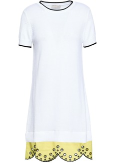 Emilio Pucci Woman Scalloped Broderie Anglaise-paneled Cotton Mini Dress White