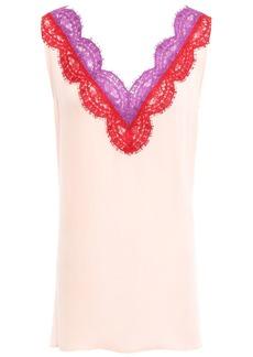 Emilio Pucci Woman Lace-trimmed Silk-georgette Top Pastel Pink