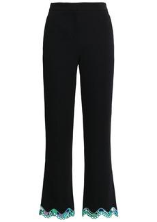 Emilio Pucci Woman Scalloped Lace-trimmed Stretch-crepe Kick-flare Pants Black