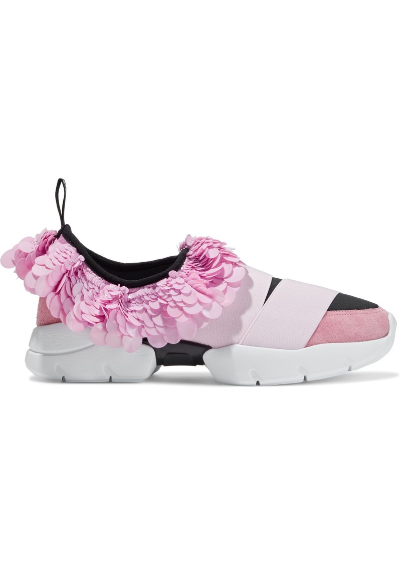 Emilio Pucci Woman Sequined Satin Suede And Neoprene Slip-on Sneakers Baby Pink