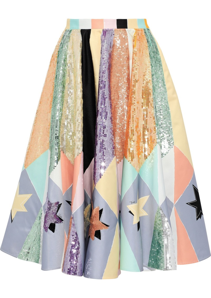 Emilio Pucci Woman Sequin-embellished Printed Duchesse-satin Skirt Lavender