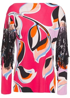 Emilio Pucci Woman Sequin-embellished Printed Jersey Top Pink
