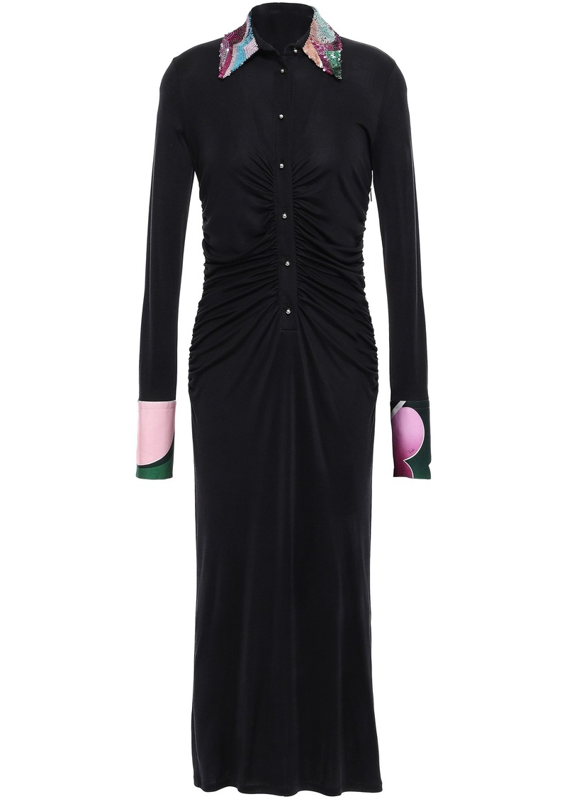 Emilio Pucci Woman Sequin-embellished Ruched Silk-jersey Midi Shirt Dress Black