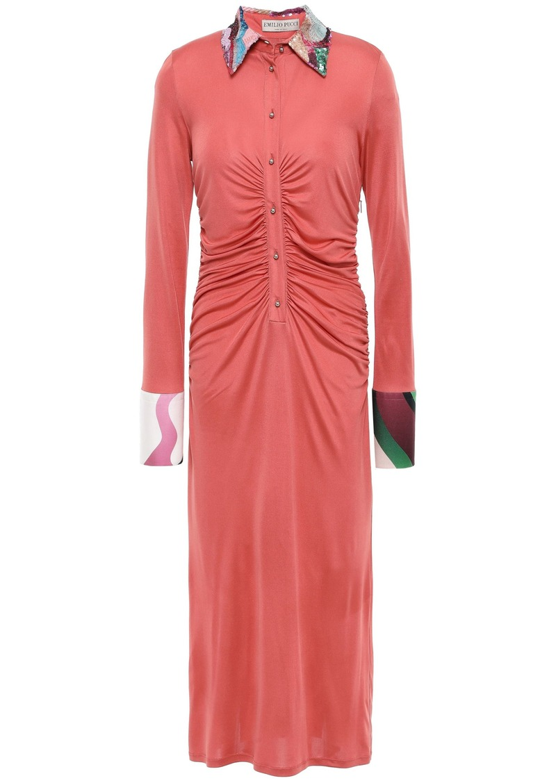 Emilio Pucci Woman Sequin-embellished Ruched Silk-jersey Midi Shirt Dress Antique Rose