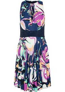 Emilio Pucci Woman Sequin-paneled Printed Stretch-silk Jersey Dress Navy