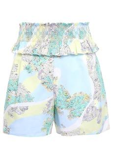 Emilio Pucci Woman Shirred Floral-print Cotton-poplin Shorts Sky Blue