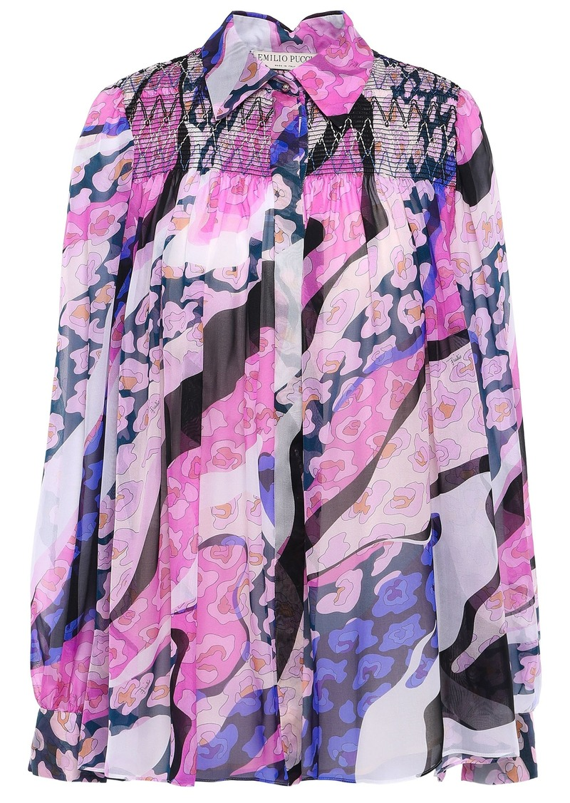 Emilio Pucci Woman Shirred Printed Silk-chiffon Shirt Pink