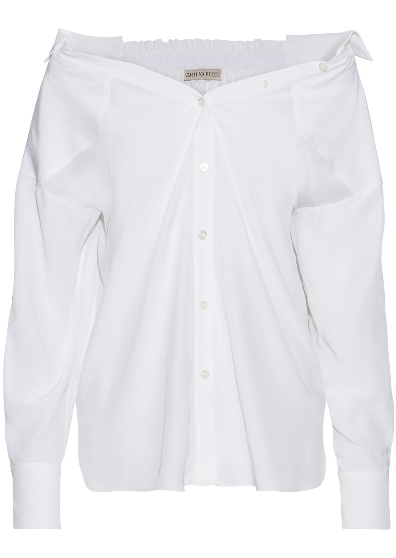 Emilio Pucci Woman Shirred Silk Crepe De Chine Shirt White