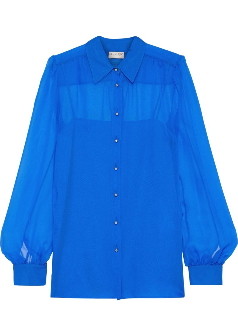 Emilio Pucci Woman Silk-chiffon Shirt Royal Blue