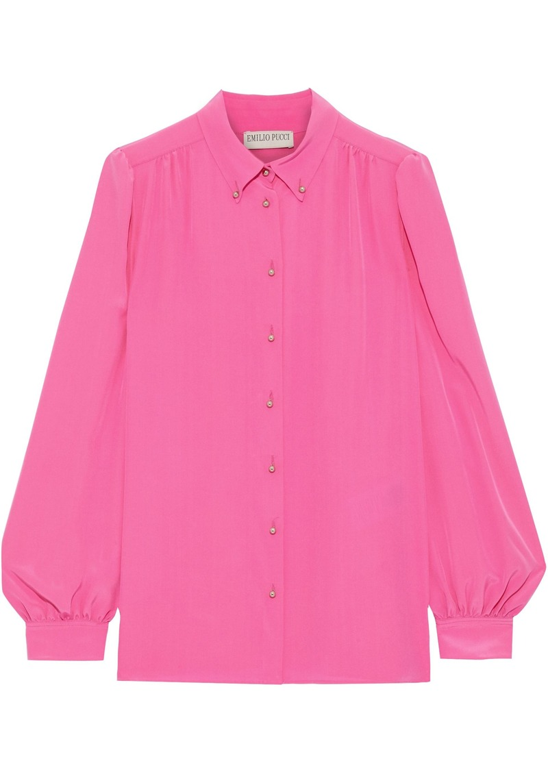 Emilio Pucci Woman Silk Crepe De Chine Shirt Bright Pink