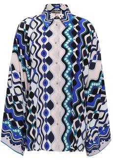 Emilio Pucci Woman Silk Crepe De Chine Shirt Royal Blue