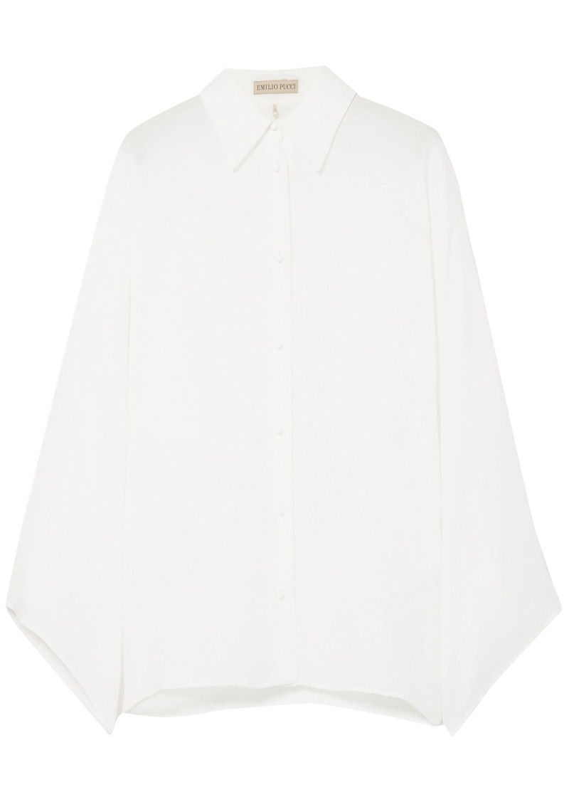 Emilio Pucci Woman Silk Crepe De Chine Shirt White