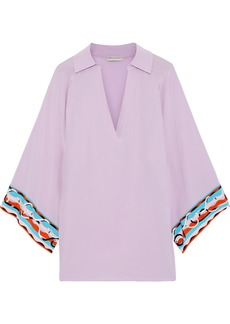Emilio Pucci Woman Silk Crepe De Chine Tunic Lavender
