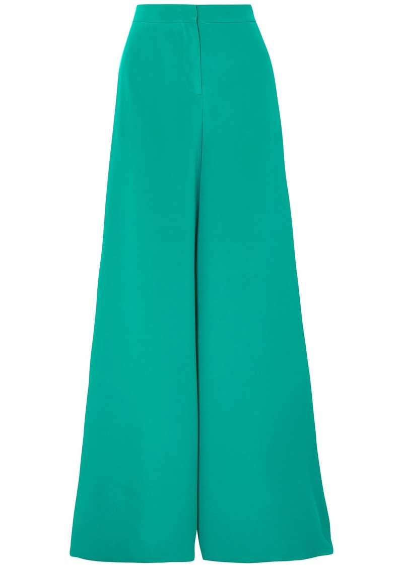 Emilio Pucci Woman Silk Crepe De Chine Wide-leg Pants Jade