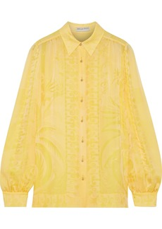 Emilio Pucci Woman Silk-jacquard Shirt Pastel Yellow