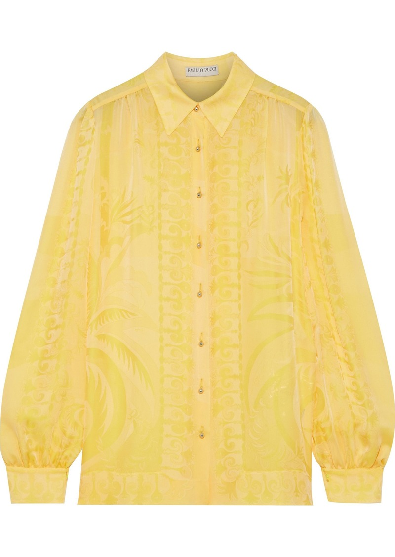Emilio Pucci Woman Silk-jacquard Shirt Pastel Yellow