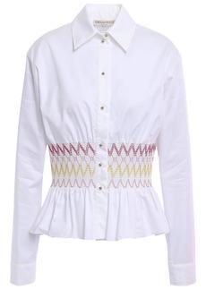 Emilio Pucci Woman Smocked Cotton-poplin Peplum Shirt White