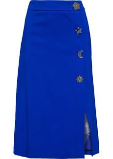 Emilio Pucci Woman Snap-detailed Crepe Midi Wrap Skirt Bright Blue