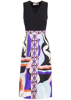 Emilio Pucci Woman Stretch-crepe And Printed Silk-twill Dress Black