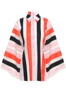Emilio Pucci Woman Striped Cotton-blend Organza Shirt Orange
