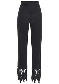 Emilio Pucci Woman Tasseled Macramé-trimmed Jersey Straight-leg Pants Black