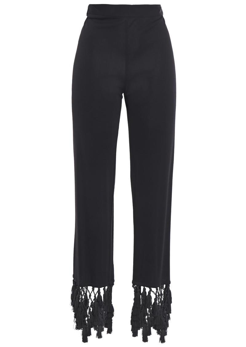 Emilio Pucci Woman Tasseled Macramé-trimmed Jersey Straight-leg Pants Black