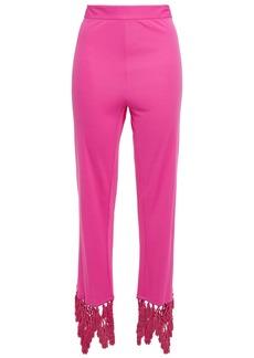 Emilio Pucci Woman Tasseled Macramé-trimmed Jersey Straight-leg Pants Fuchsia