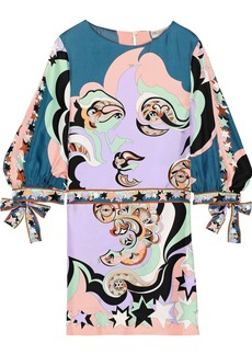 Emilio Pucci Woman Tie-detailed Printed Silk-twill Mini Dress Lavender