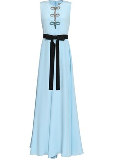 Emilio Pucci Woman Tie-front Bow-embellished Silk Maxi Dress Sky Blue