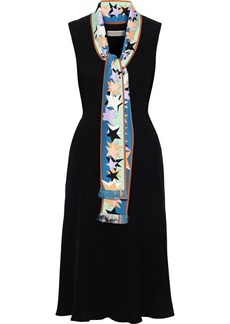 Emilio Pucci Woman Tie-neck Printed Satin Twill-trimmed Crepe Dress Black