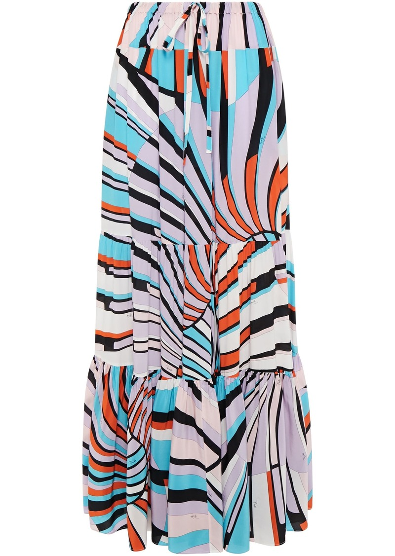 Emilio Pucci Woman Tiered Printed Silk Crepe De Chine Maxi Skirt Lavender