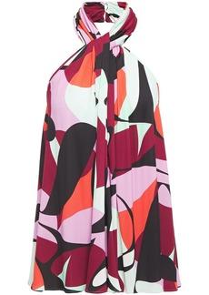 Emilio Pucci Woman Twist-front Printed Jersey Halterneck Top Claret