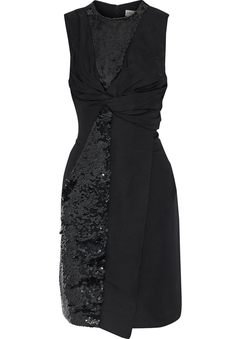 Emilio Pucci Woman Twist-front Sequin-embellished Woven Dress Black
