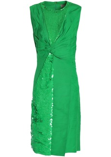 Emilio Pucci Woman Twist-front Sequin-embellished Woven Dress Green