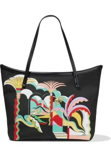 Emilio Pucci Woman Twist Leather-trimmed Printed Canvas Tote Black