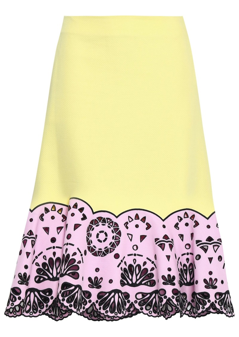 Emilio Pucci Woman Two-tone Broderie Anglaise Cotton-piqué Midi Skirt Pastel Yellow