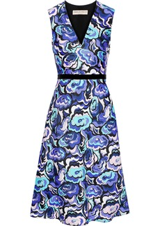Emilio Pucci Woman Velvet-trimmed Printed Wool And Silk-blend Twill Dress Bright Blue