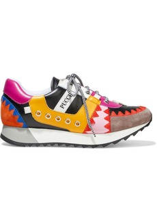 Emilio Pucci Woman Whipstitched Suede-trimmed Color-block Leather Sneakers Multicolor