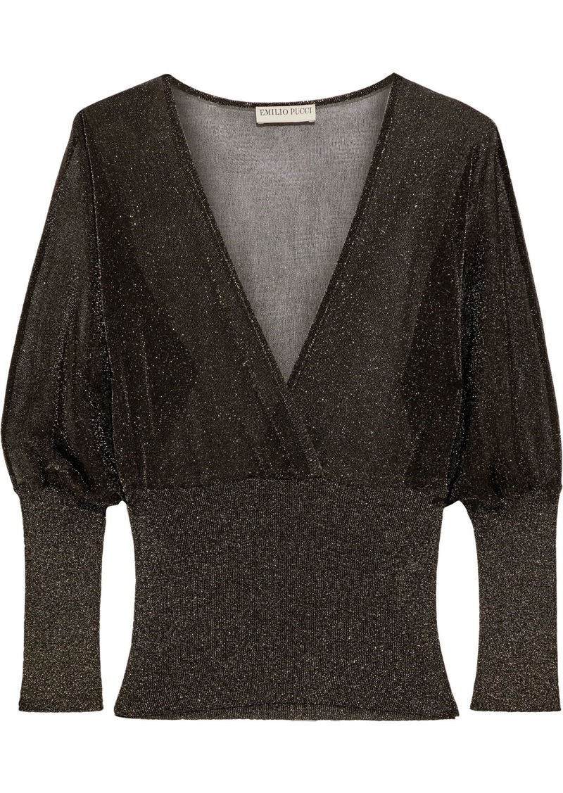 Emilio Pucci Woman Wrap-effect Metallic Crochet And Ribbed-knit Top Black
